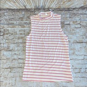 Glitz pink striped mock turtleneck sleeveless top